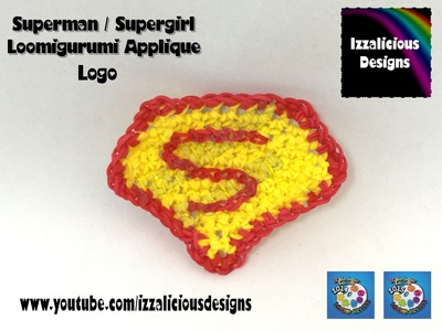 Rainbow Loom Superman | Supergirl Logo Crochet Applique - Hook Only Loomigurumi style