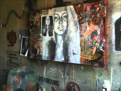 Time Lapse Art - Mixed Media Girl Portrait on Canvas - Joe Slatter
