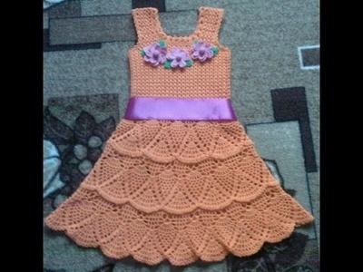 Crochet baby dress| How to crochet an easy shell stitch baby. girl's dress for beginners 188