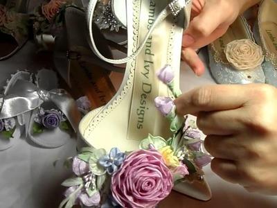 Custom Made Wedding Shoes, Flower Girl Shoes French Ribbonwork