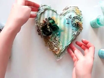 Finnabair CT - start-to-finish mixed media heart tutorial