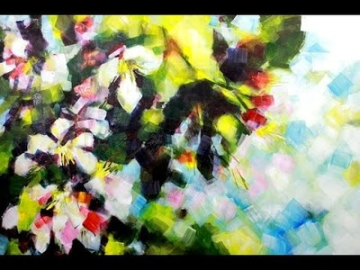 How to paint Abstract Flower Blossoms in Acrylics by Samuel Durkin | Flower painting Lesson.