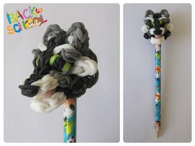 Rainbow Loom raccoon pencil topper Loombicious