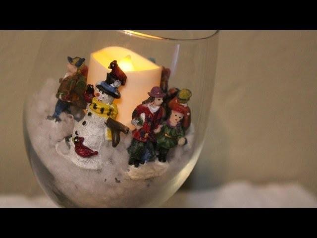 Snowy Holiday Scene in a Glass DIY *EASY DECOR* - Whitney Sews