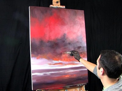 Time Lapse Abstract Landscape Sunset in Acrylics by Tim Gagnon