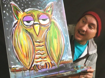 WINTER OWL Time Lapse ACRYLIC PAINTING Speed ART by RAEART