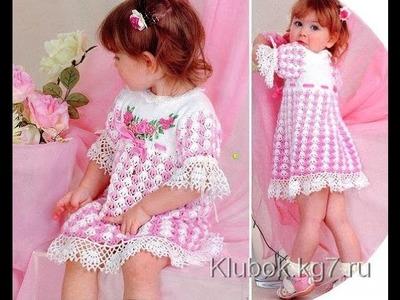 Crochet dress| How to crochet an easy shell stitch baby. girl's dress for beginners 26