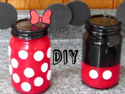 DIY Minnie y Mickey Mouse | FRASCOS DE VIDRIO de Minnie y Mickey Mouse
