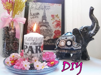 DIY Tutorial: How to decorate candles with paper napkins | DIY Room Decor - super easy and cheap