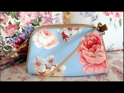 Easy Bag DIY Revamp Old Bag Flowers Fabric Modge Podge DamaV425