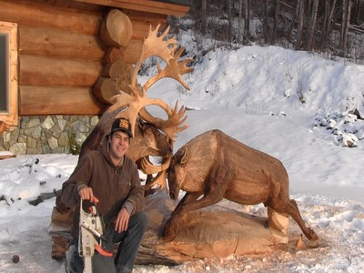Fighting Caribou Chainsaw Carving By Jordan Anderson