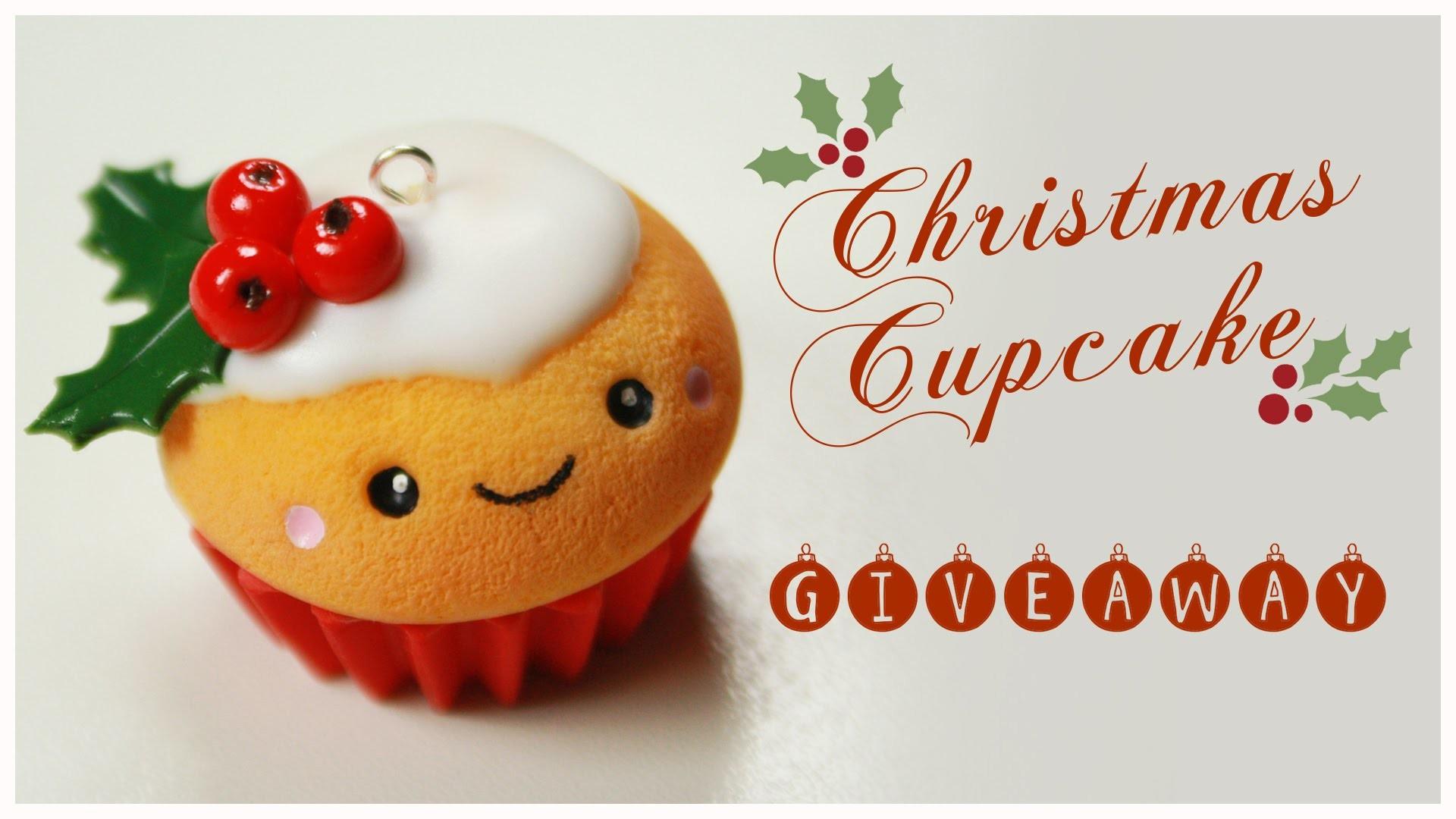 Kawaii CHRISTMAS Cupcake TUTORIAL - HUGE Holiday Giveaway (CLOSED) !!! ( AmiGami ,FIMO, jewelry)
