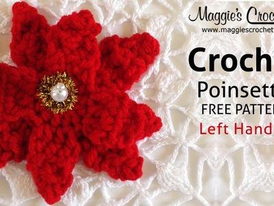 Poinsettia Free Crochet Pattern - Left Handed