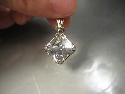 Prinncess cut Topaz wire wrpped pendant for you