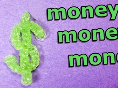 Rainbow Loom: DOLLAR. MONEY SIGN Charm - how to make loom bands