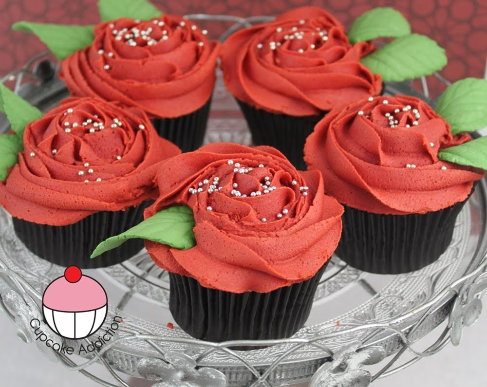 Rose Cupcakes! Decorate Buttercream Rose Swirl Cupcakes - A Cupcake Addiction How To Tutorial