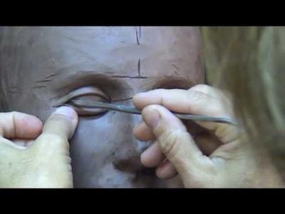 Sculpting Open Eyes In Clay. Sculpting tutorial-demo.