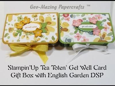 Stampin'Up Tea Toten' Get Well Card Gift Box with English Garden DSP
