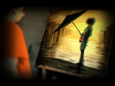 Time-lapse original oil painting on canvas cityscape rain by jarduli