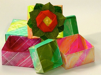 Ustream: How to Create Glue Resist and Paint Papers for Origami Boxes  with Barb Owen