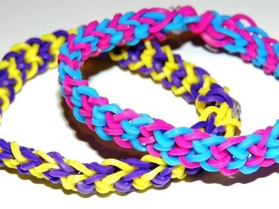 Elastic color Rainbow Loom Inverted Fishtail Bracelet