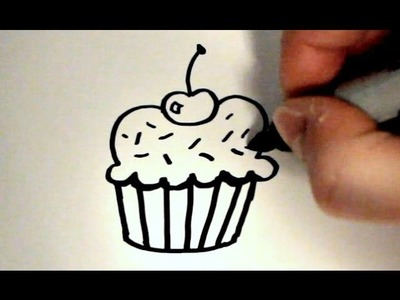 How to Draw a Cartoon Cupcake v2
