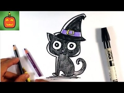 How to Draw a Cat in a Witches Hat - Halloween Drawings