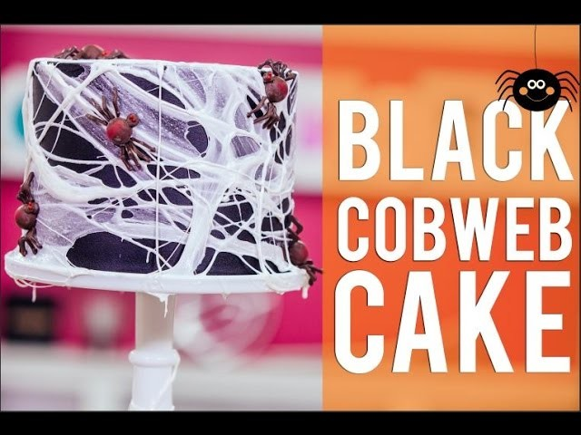 How To Make A BLACK COBWEB CAKE! Chocolate Cake, Black  Ganache and filled with Halloween Candy!