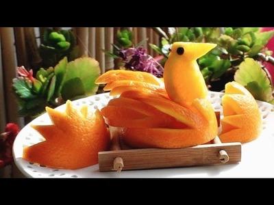 How to Make Orange Bird   Orange Duck   Orange Swan   Fruit Art Carving Garnish   Food Decoration