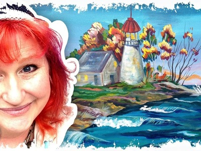How to paint | Fall Lighthouse | The Art Sherpa