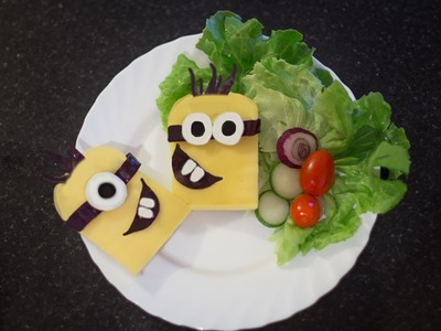 Minions sandwich ,how to make minions lunch box for kids,minion food ideas