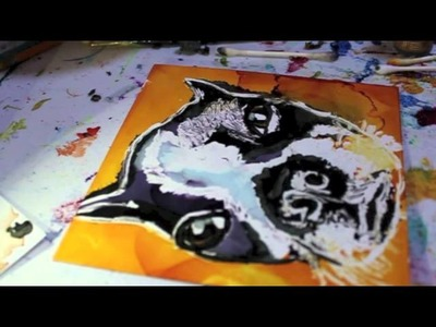 Painting A Boston Terrier With Alcohol Inks On Yupo Paper