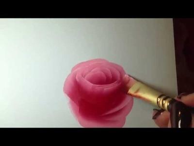 Painting A Rose, Eine Rose Malen Mit Acrylfarben