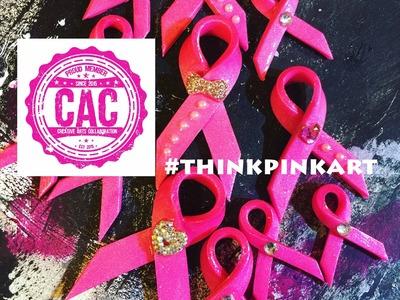 #THINKPINKART *DIY* Polymer Clay Breast Cancer Awarness Embellishment w. DecoArt