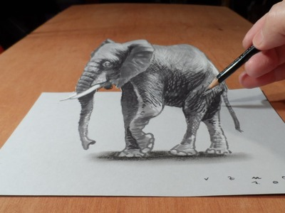 Trick Art, How to Draw 3D Elephant, Time Lapse