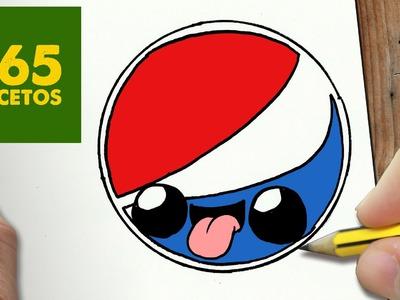 COMO DIBUJAR LOGO PEPSI KAWAII PASO A PASO - Dibujos kawaii faciles - How to draw a LOGO PEPSI