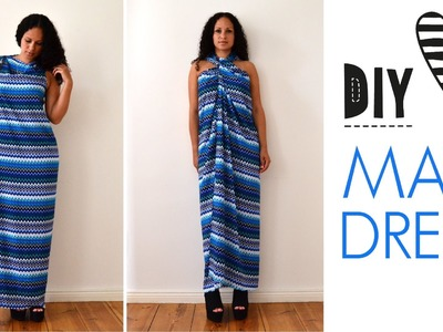♥ DIY no sew MAXI DRESS in 5 minutes | quick & easy | how to | tutorial