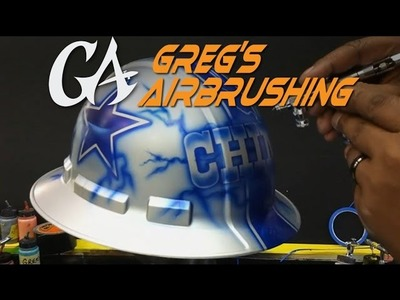How to Airbrush a Dallas Cowboy theme on a Hard Hat