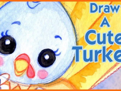 How to Draw a Cute Turkey Kawaii - Step by Step - Narrated