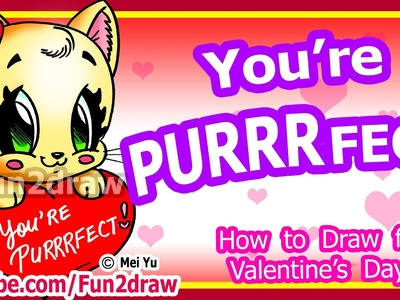 How to Draw a Heart & Cat for Love + Valentine's - Cute Easy Art Tutorial - Fun2draw Cartoons