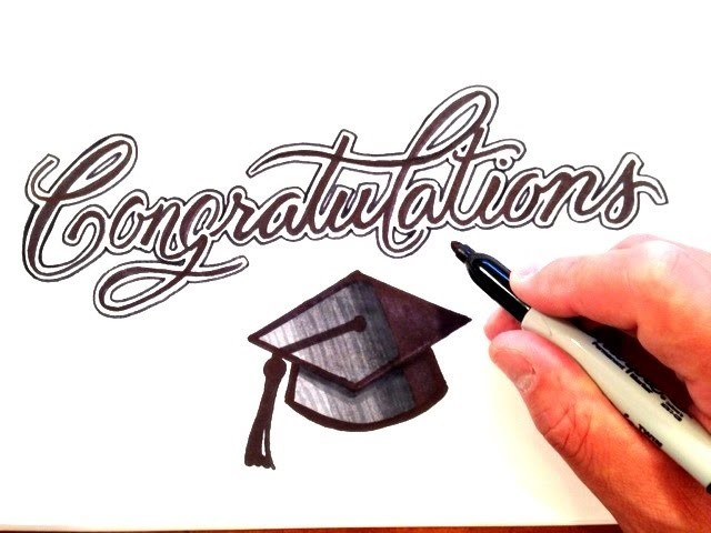 How to Draw Congratulations with Graduation Cap