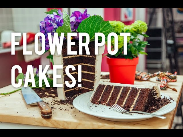 How to Make A FLOWER POT out of CAKE! Chocolate cake, coffee buttercream and edible OREO dirt!