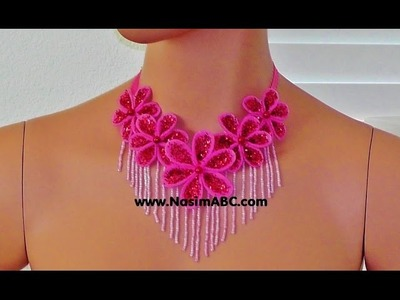 How To Make Shiny Fashion Fabric Flower Necklace Beaded Muncuq Toxuma