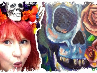 How to paint | Skull and Roses | Square Canvas