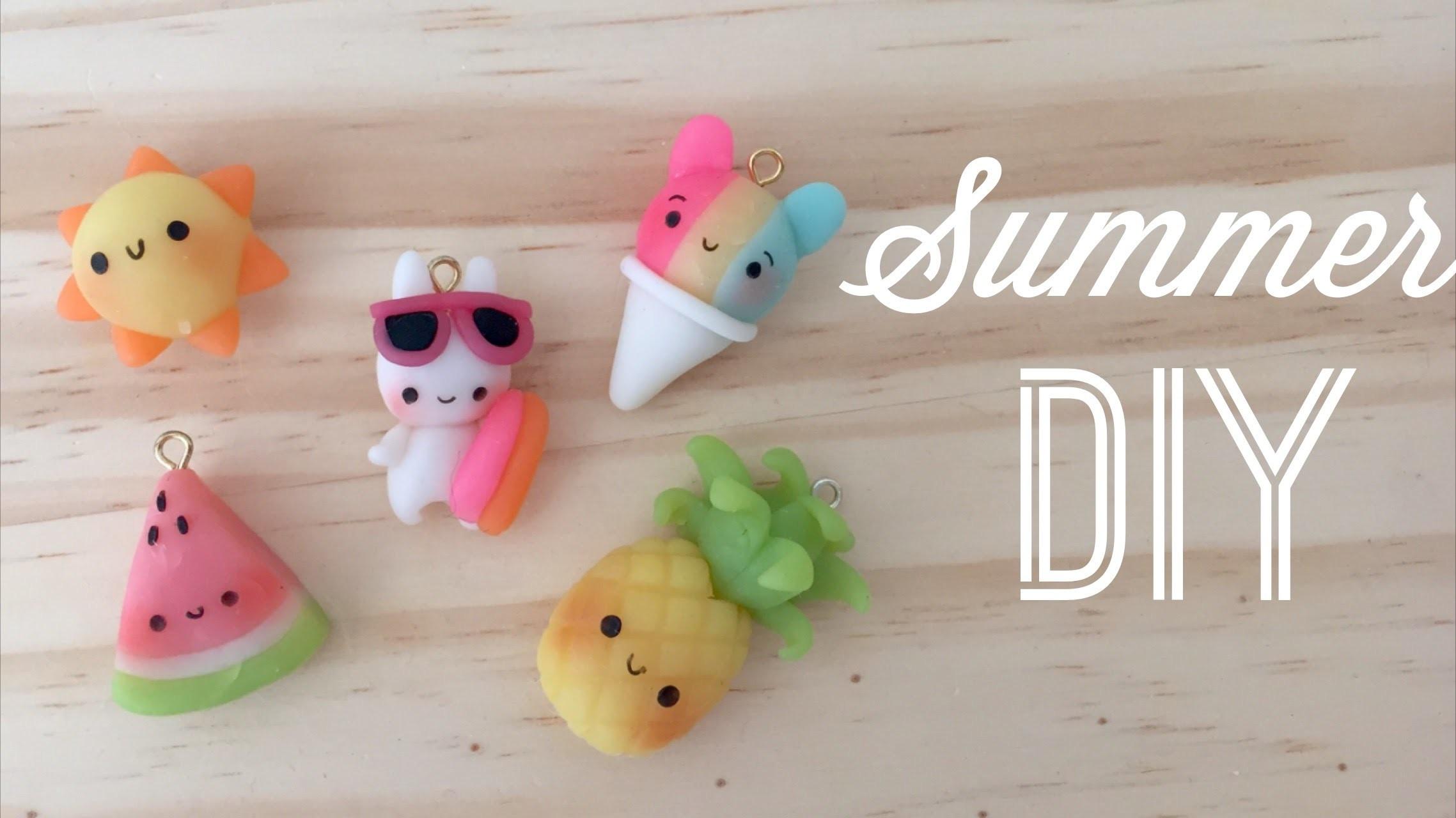 Kawaii Polymer Clay Tutorial - DIY Cute Summer Charms