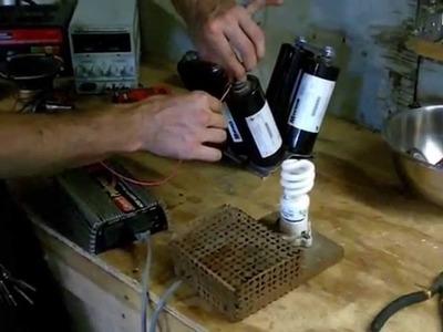 Super capacitors run light bulb and drill