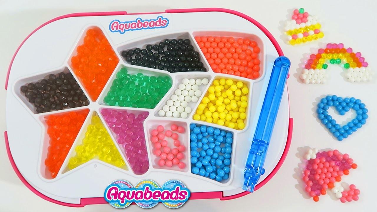 AquaBeads Beginner's Studio Playset Beautiful Rainbow Hearts & Cupcake Shapes with Glitter Beads!