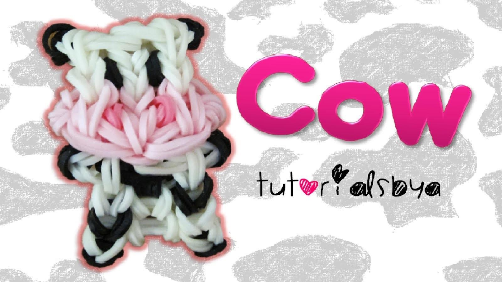 {Bobble Head} Cow Charm.Mini Figurine Rainbow Loom Tutorial