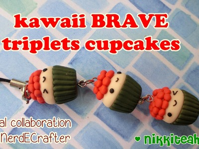 ~BRAVE Collab~ Kawaii Triplets Cupcakes Cellphone Charm