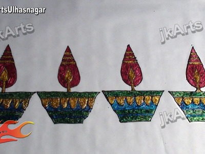 DIY Glitter Rangoli Diya Design on OHP Sheet | How to make | JK Arts 403